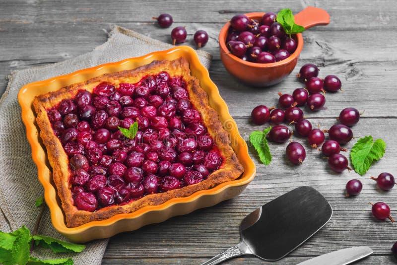 Свежее испеченное печенье пирога с красными ягодами крыжовника стоковые фотографии rf