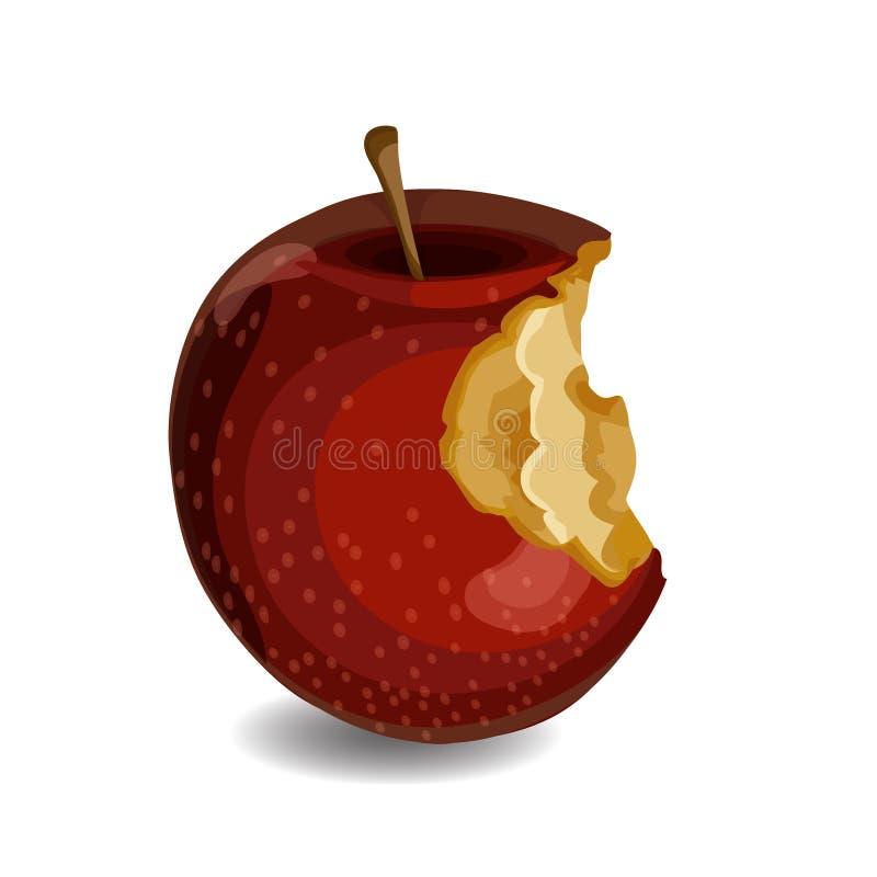 Свежее и вкусное красное яблоко при укусы изолированные на белой предпосылке иллюстрация штока
