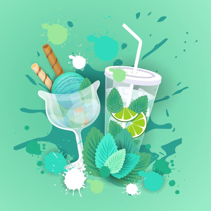 Свежее мороженое с знаменем еды сладостного красивого десерта логотипа коктеиля очень вкусным иллюстрация вектора