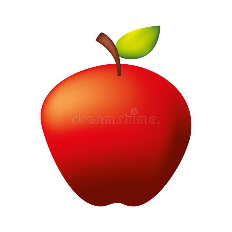 Свежее органическое яблоко на белой предпосылке иллюстрация штока