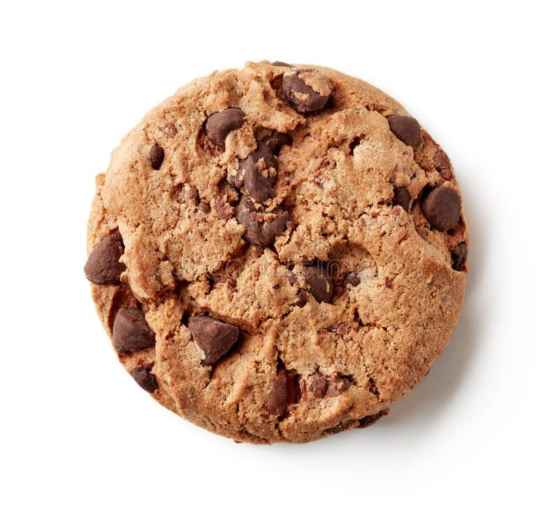 Свежее печенье обломока шоколада изолированное на белизне, сверху стоковые фотографии rf