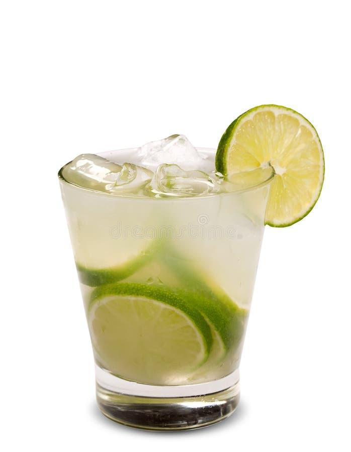 Свежее питье лимона при лед изолированный на белой предпосылке Caipiri стоковые фотографии rf