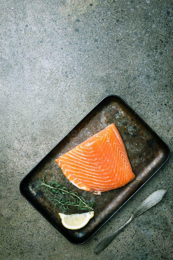 Свежее сырцовое salmon филе стоковое фото rf