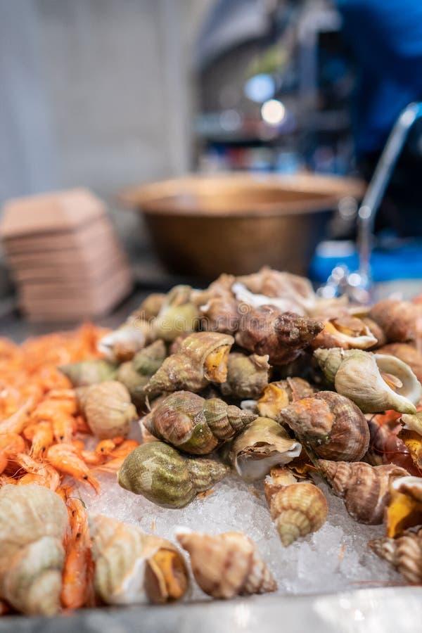 Свежее шоу рынка морепродуктов запятнало Вавилон стоковое фото rf