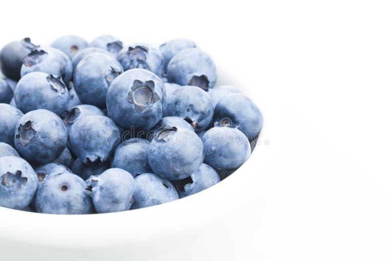 Свеже выбранные органические голубики в белом шаре - близкая поднимающая вверх студия сняла с фокусом на ягодах стоковая фотография rf