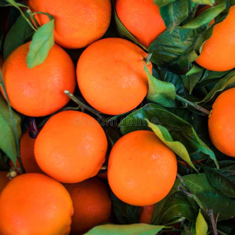 Свежие апельсины приносить с зелеными листьями как текстурированная предпосылка стоковое фото