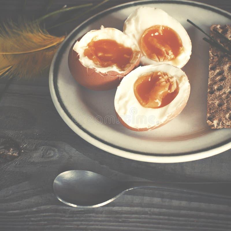 Свежие вареные яйца и зеленый лук весны на плите на деревянном tabl стоковая фотография rf