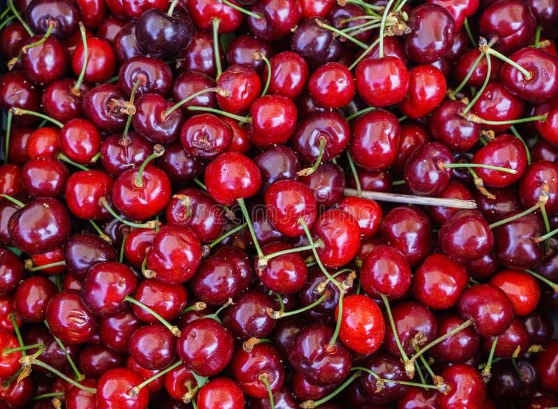 Свежие, душистые сладкие вишни в подносах на рынке фермеров стоковая фотография