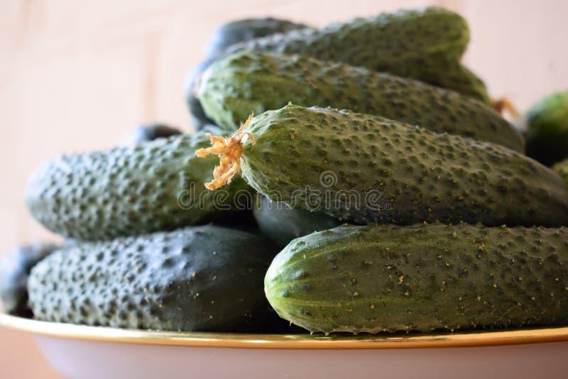 Свежие зеленые огурцы на плите r Огурец содержит витамины b, a стоковое фото