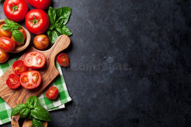 Свежие зрелые томаты и базилик сада стоковая фотография rf