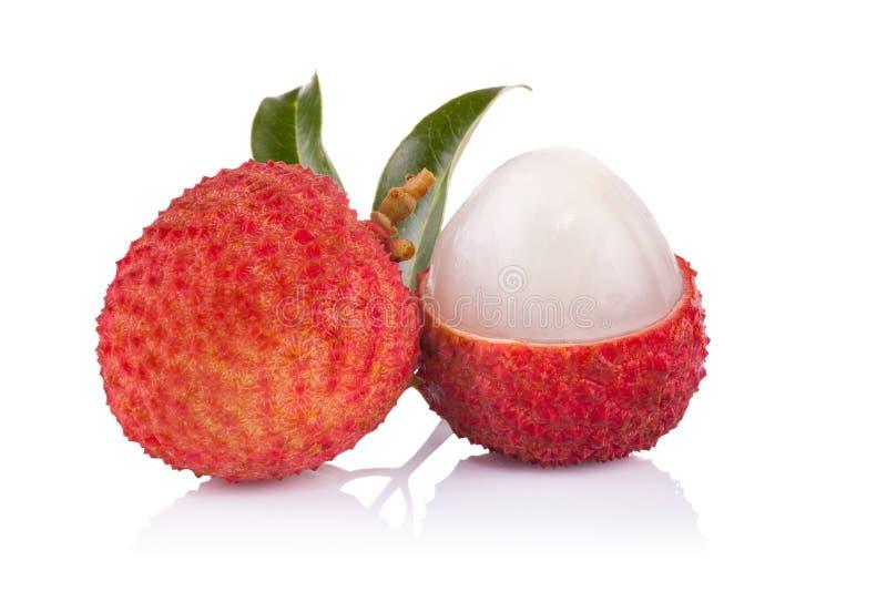 свежие изолированные lychees белые стоковые изображения