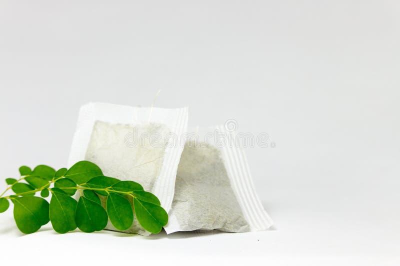 Свежие листья и пакетик чая Moringa стоковое фото rf