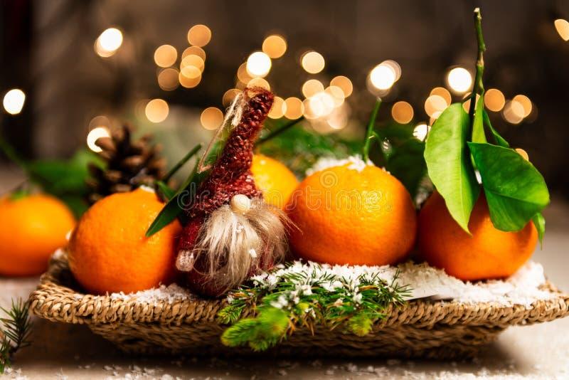 Свежие Клементины или Tangerines и 2 гнома со светами Xmas дальше стоковое фото