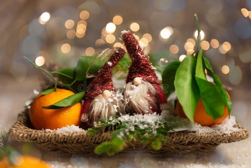 Свежие Клементины или Tangerines и 2 гнома со светами Xmas дальше стоковые фотографии rf