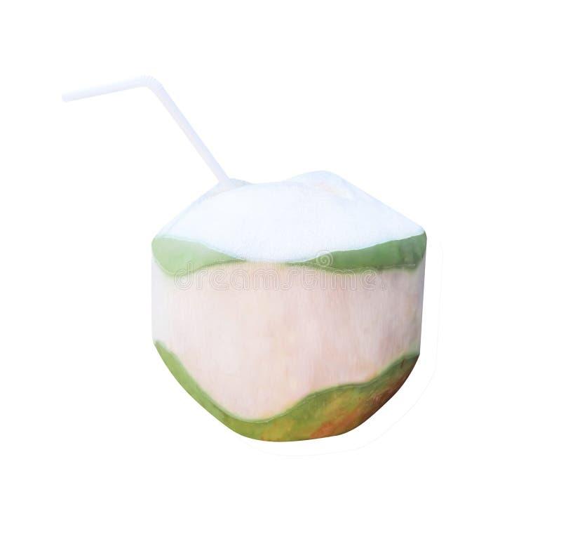 Свежие кокосы с белой выпивая соломой изолированной на белой предпосылке, пути клиппирования стоковые фотографии rf