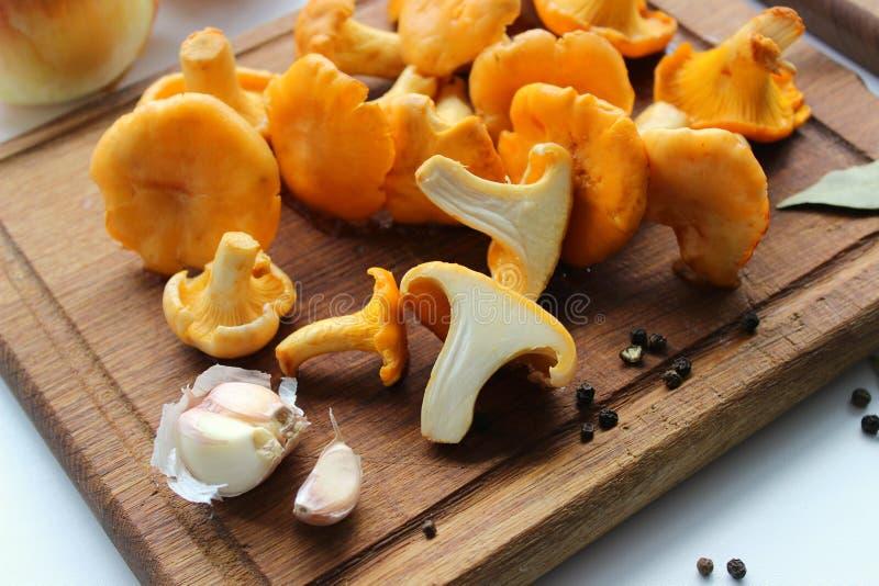 Свежие лисички и ингредиенты для варить на деревянной доске стоковое фото rf