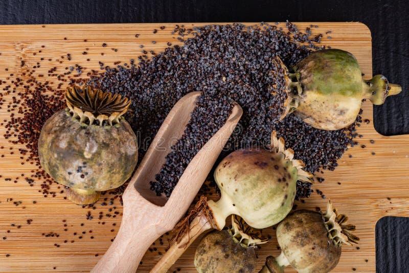 Свежие маковые семенена полили на деревянной доске кухни Различные маковые семенена подготовленные для печениь кухни стоковое изображение rf