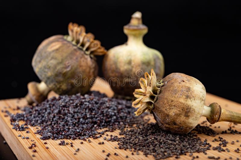 Свежие маковые семенена полили на деревянной доске кухни Различные маковые семенена подготовленные для печениь кухни стоковое фото