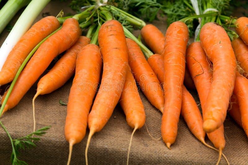Свежие молодые моркови на рынке местного фермера. стоковая фотография