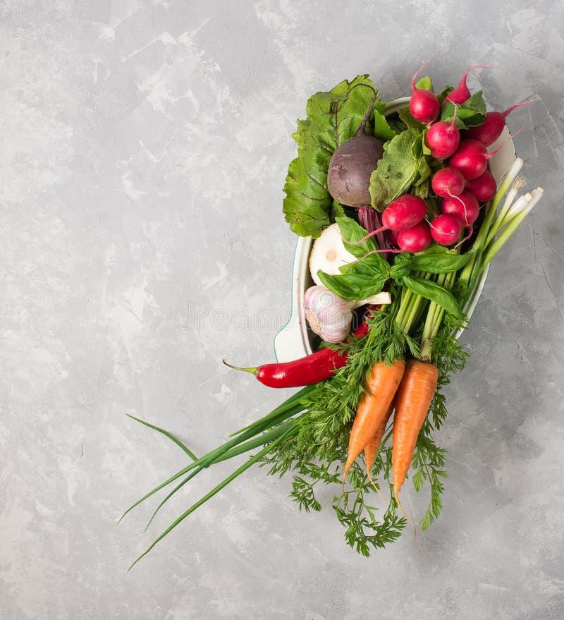 Свежие овощи в лотке, который нужно сварить на серой предпосылке Концепция стоковое изображение rf