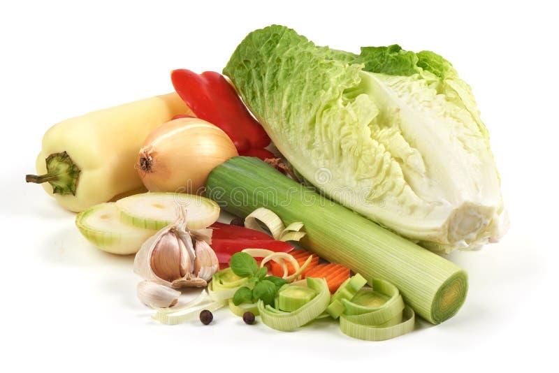 Свежие овощи, конец-вверх, изолированный на белой предпосылке стоковая фотография