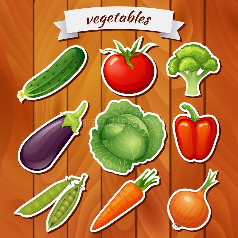 Свежие овощи на деревянной предпосылке Vegetable значок Vegetable стикер Еда Vegan Огурец, томат, брокколи, баклажан, cabbag иллюстрация штока