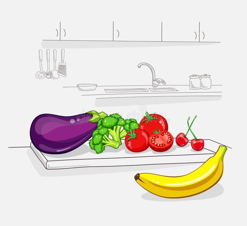 Свежие овощи на kichen органическое еды здоровое Концепция Vegan также вектор иллюстрации притяжки corel иллюстрация штока