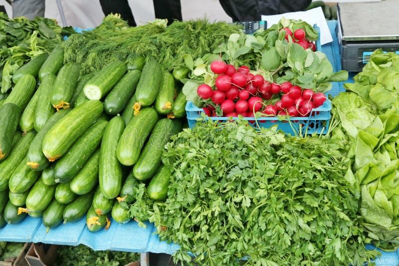 Свежие петрушка редиски и овощи огурцов в запасе улицы стоковые фотографии rf