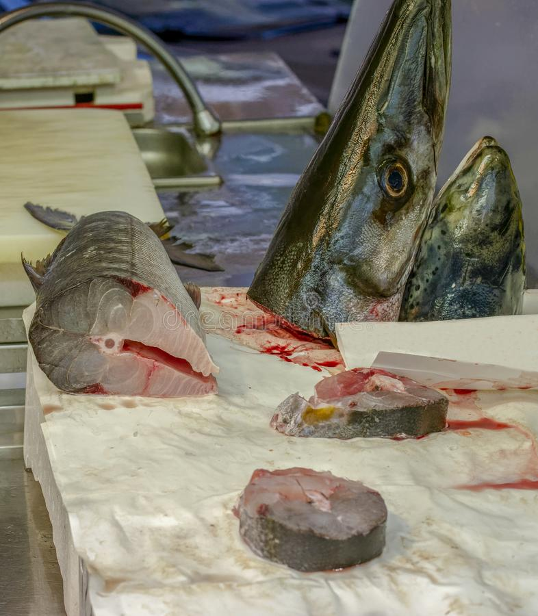 Свежие рыбы барракуды на рынке стоковое изображение