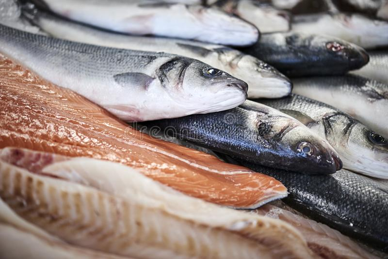 Свежие рыбы в счетчике col стоковая фотография