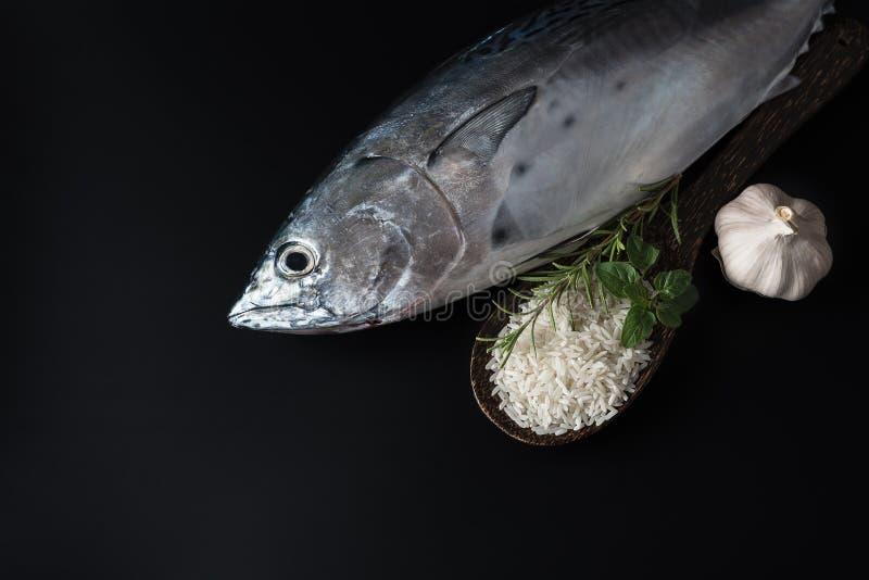 Свежие рыбы, рис и специи стоковое изображение