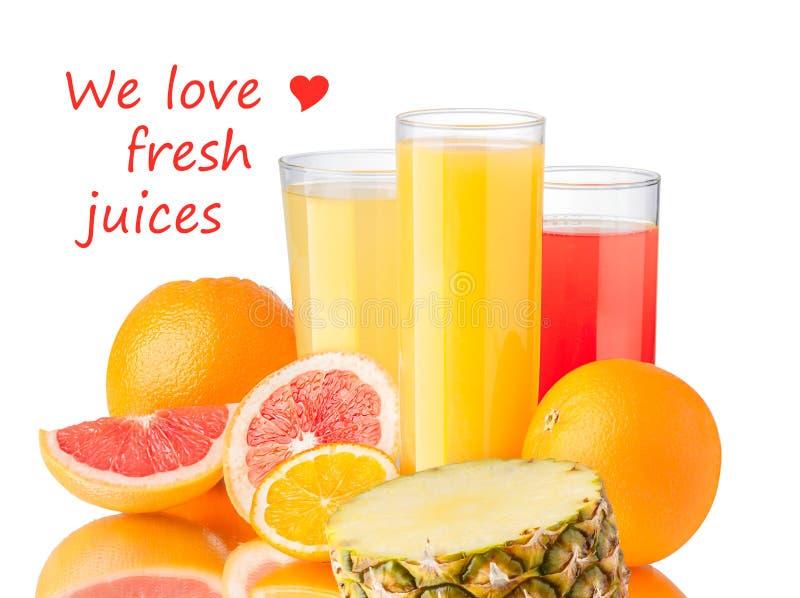 Свежие соки с плодоовощами стоковое изображение