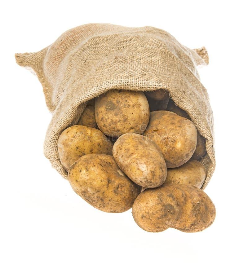 Свежие сырцовые картошки в мешке стоковая фотография rf
