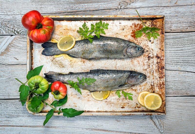 Свежие сырые рыбы и пищевые ингредиенты на таблице стоковая фотография