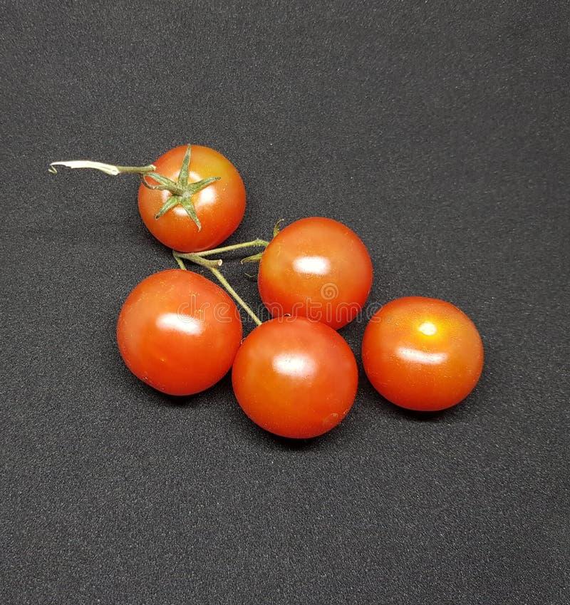 Свежие томаты вишни над черной предпосылкой Здоровые овощи стоковые фото