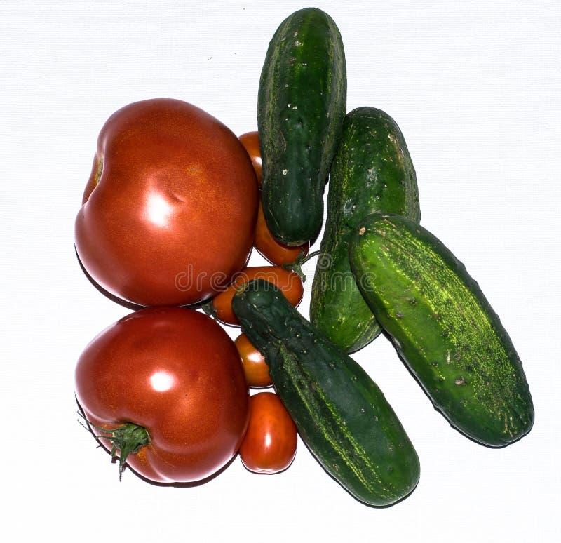 Свежие томаты и огурцы на белой предпосылке стоковые изображения rf