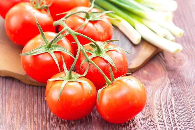 Свежие томаты и лук весны стоковое фото rf