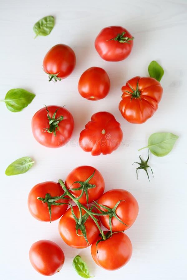 Свежие томаты на белой деревянной предпосылке стоковые изображения