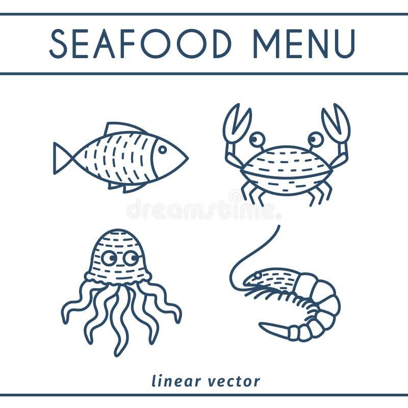 Свежие установленные значки вектора морепродуктов иллюстрация штока