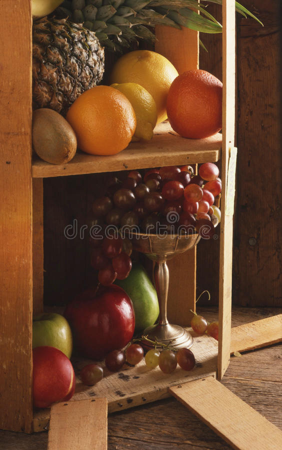 Свежие фрукты все и показанные в открытой клети стоковое изображение rf