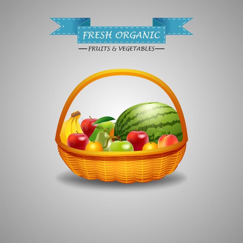 Свежие фрукты в плетеной изолированной корзине бесплатная иллюстрация