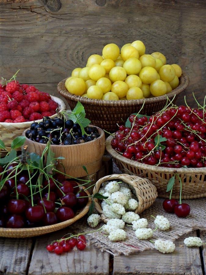 Свежие фрукты и ягоды в корзинах на деревянной предпосылке стоковые фотографии rf