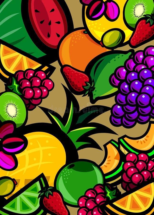 свежие фрукты предпосылки иллюстрация штока