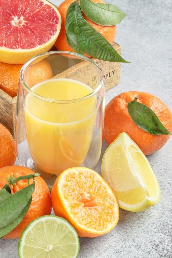 Свежие цитрусы и сок Лимоны, известки, Клементины, грейпфрут стоковое фото