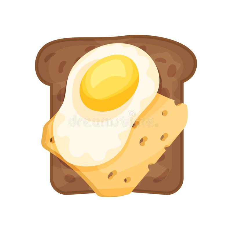 Свежие яичница и кусок сыра на провозглашанном тост хлебе рож Сандвич для завтрака или обеда Тема еды Плоский значок вектора иллюстрация вектора