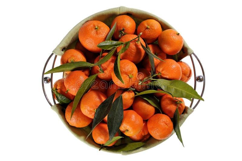 Свежие tangerines с листьями на белой предпосылке стоковые фото