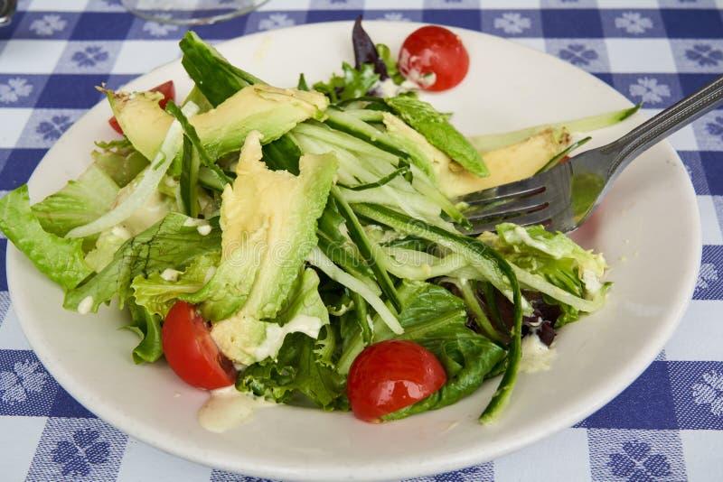 Свежий авокадо и салат огурец с вишневыми помидорами стоковое фото rf