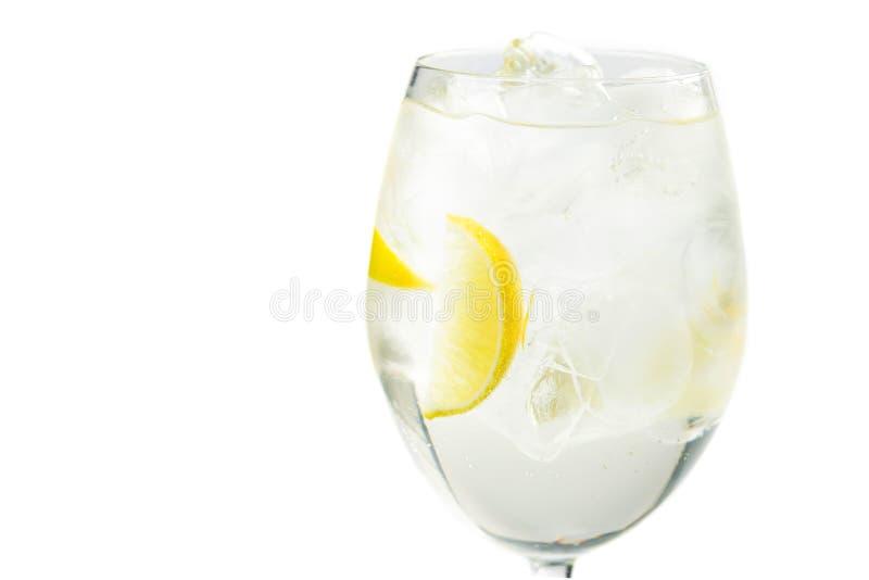 Свежий алкогольный напиток с лимоном и льдом стоковые изображения rf