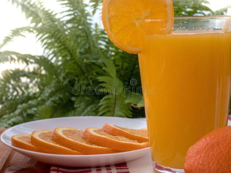 Свежий апельсиновый сок с оранжевыми кусками в плите стоковые изображения