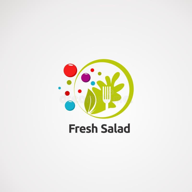 Свежий вектор логотипа салата с зеленым цветом круга и цифровыми концепцией, значком, элементом, и шаблоном для компании иллюстрация штока
